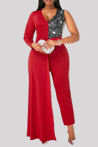 Red Fashion Casual Patchwork Sequins V Neck Plus Size Jumpsuits