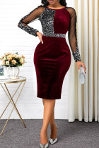 Burgundy Sexy Solid Split Joint See-through O Neck One Step Skirt Dresses
