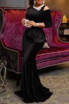 Black Elegant Solid Embroidered Hollowed Out Split Joint O Neck Evening Dress Dresses