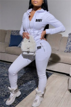 White Fashion Casual Letter Print Solid Color Hooded Collar Long Sleeve Two Pieces