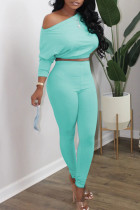 Cyan Casual Solid Split Joint Oblique Collar Long Sleeve Two Pieces