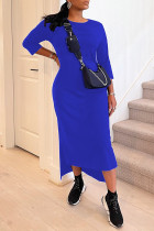 Blue Casual Solid Split Joint O Neck Long Sleeve Dresses