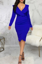 Blue Casual Solid Split Joint Flounce Asymmetrical V Neck One Step Skirt Dresses