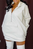 White Fashion Casual Solid Split Joint Zipper Hooded Collar Tops