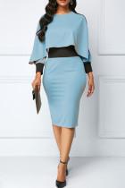 Blue Casual Elegant Solid Split Joint Asymmetrical O Neck Pencil Skirt Dresses