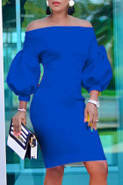 Deep Blue Fashion Casual Solid Backless Off the Shoulder Long Sleeve Dresses