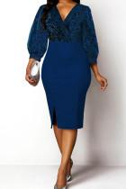 Blue Casual Solid Split Joint V Neck A Line Dresses