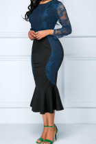 Blue Sexy Solid Embroidered Hollowed Out Split Joint O Neck Trumpet Mermaid Dresses