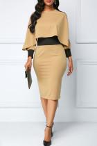 Khaki Casual Elegant Solid Split Joint Asymmetrical O Neck Pencil Skirt Dresses