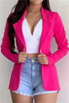 Rose Red Fashion Casual Solid Cardigan Turndown Collar Outerwear