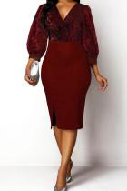 Burgundy Casual Solid Split Joint V Neck A Line Dresses
