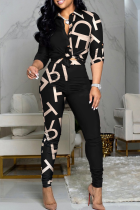 Letter Print Casual Print Split Joint Turndown Collar Long Sleeve Two Pieces
