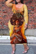 Orange Fashion Casual Print Basic O Neck Long Sleeve Plus Size Dresses