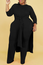 Black Casual Solid Split Joint Slit O Neck Long Sleeve Two Pieces