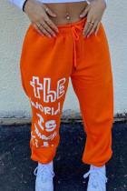 Orange Fashion Casual Letter Print Basic Regular Mid Waist Trousers
