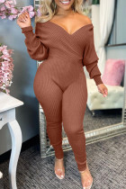 Coffee Fashion Casual Solid Split Joint V Neck Regular Jumpsuits