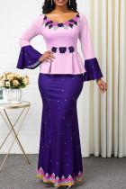 Purple Casual Elegant Print Split Joint Off the Shoulder Straight Dresses