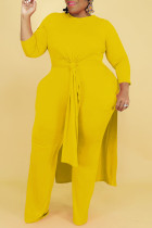 Yellow Casual Solid Split Joint Slit O Neck Long Sleeve Two Pieces