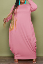 Pink Fashion Casual Solid Basic O Neck Long Sleeve Plus Size Dresses