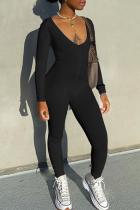 Black Sportswear Solid Split Joint V Neck Skinny Jumpsuits