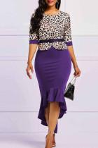 Purple Casual Elegant Print Leopard Split Joint Asymmetrical O Neck Trumpet Mermaid Dresses