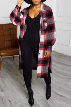 Red Casual Plaid Split Joint Turndown Collar Outerwear