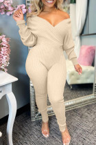 Apricot Fashion Casual Solid Split Joint V Neck Regular Jumpsuits