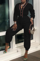 Black Casual Solid Draw String V Neck Harlan Jumpsuits