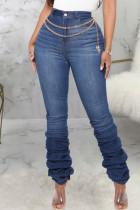 Dark Blue Casual Solid Split Joint Fold High Waist Regular Denim Jeans(Without Belt)