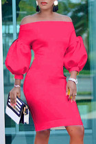 Rose Red Fashion Casual Solid Backless Off the Shoulder Long Sleeve Dresses