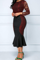 Red Sexy Solid Embroidered Hollowed Out Split Joint O Neck Trumpet Mermaid Dresses
