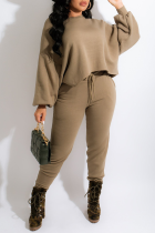 Army Green Casual Solid Split Joint O Neck Long Sleeve Two Pieces