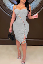Grey Fashion Sexy Solid Bandage Backless Square Collar Sling Dress Dresses