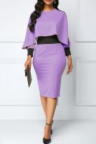 Purple Casual Elegant Solid Split Joint Asymmetrical O Neck Pencil Skirt Dresses