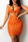 Orange Sexy Solid Hollowed Out Backless Halter Sleeveless Dress
