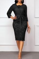Black Sexy Solid Bandage Hollowed Out Split Joint V Neck One Step Skirt Dresses