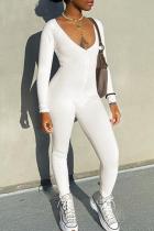 Cream White Sportswear Solid Split Joint V Neck Skinny Jumpsuits