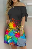 Colour Fashion Casual Print Bandage Off the Shoulder Short Sleeve Dress Dresses