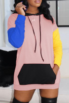 Pink Fashion Casual Patchwork Pocket Hooded Collar Long Sleeve Dresses