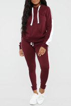 Burgundy Casual Solid Split Joint Hooded Collar Long Sleeve Two Pieces