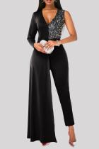 Black Fashion Casual Patchwork Sequins V Neck Plus Size Jumpsuits