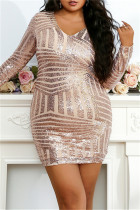 Gold Fashion Sexy Patchwork Sequins Long Sleeve Plus Size Dresses