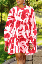 Red Fashion Casual Print Basic O Neck Long Sleeve Dresses