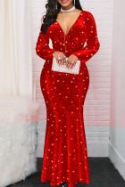 Red Casual Print The stars Split Joint V Neck Trumpet Mermaid Dresses