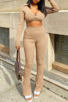 Khaki Fashion Casual Solid Basic V Neck Long Sleeve Two Pieces