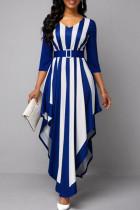 Blue Casual Striped Print Split Joint Asymmetrical V Neck Long Sleeve Dresses