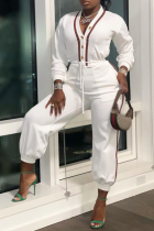 White Casual Solid Draw String V Neck Harlan Jumpsuits