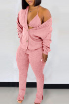 Pink Casual Solid Split Joint Buckle Slit V Neck Long Sleeve Two Pieces