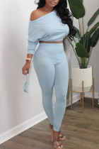 Light Blue Casual Solid Split Joint Oblique Collar Long Sleeve Two Pieces