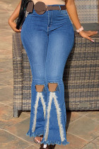 Medium Blue Fashion Casual Solid Hollowed Out Split Joint High Waist Regular Denim Jeans (Without Belt)